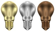 Golden, Silver And Bronze Light Bulbs Royalty Free Stock Photography