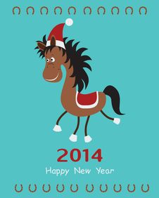 Free Christmas Card With Horse. Stock Image - 36202801