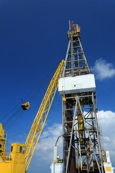 Derrick Of Offshore Drill Rig And Rig Crane Stock Photo