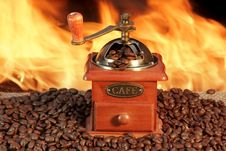Free Old Coffee Grinder And Roasted Coffee Beans Stock Image - 36216511