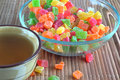 Free Piala With Tea And A Glass Dish With Candied Fruit Stock Photography - 36224642