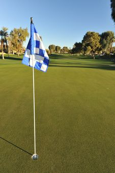 Free Checkered Golf Flag On A Green Stock Photo - 36225750