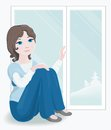 Free Pretty Girl By New Window Royalty Free Stock Photography - 36231607