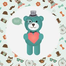 Free Hipster Bear Holding Heart Illustration Stock Images - 36240884