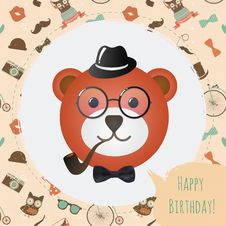 Hipster Bear Head Card Vector Illustration Stock Photos
