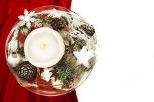 Free Candle With Winter Decoration On Red Silk And White Background Royalty Free Stock Image - 36245676