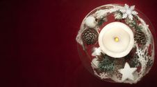 Free Winter Decoration With Candles On Red Background Stock Photos - 36245693