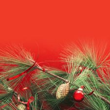 Free Green Pine Branches With Christmas Decorations Royalty Free Stock Image - 36245746