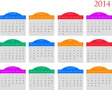 Free Calendar 2014 Royalty Free Stock Images - 36246369