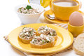 Free Breakfast - Toasts With Tuna And Homemade Cheese, Coffee Stock Photo - 36254680