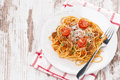 Free A Plate Of Spaghetti Bolognese On Wooden Table Stock Photography - 36254682