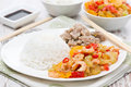 Free Chinese Food - Rice, Chicken And Vegetables With Shrimp Royalty Free Stock Image - 36254696