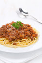 Free Portion Of Spaghetti Bolognese On A White Plate, Vertical Stock Photography - 36254822