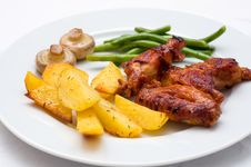 Free Chicken Wings With Potatoes Royalty Free Stock Image - 36251986