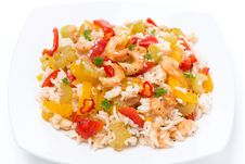 Free Chinese Food - Rice With Vegetables And Shrimps, Top View Royalty Free Stock Photography - 36254687
