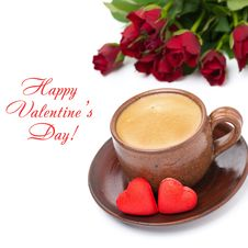 Free Coffee, Candies And Red Roses For Valentine S Day, Top View Royalty Free Stock Photography - 36254717