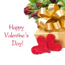 Free Golden Gift Box, Two Red Hearts And Flowers, Isolated Stock Photo - 36254780