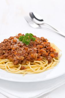 Portion Of Spaghetti Bolognese On A White Plate, Vertical Stock Photography