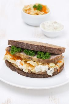 Sandwich Of Rye Bread With Coleslaw And Meat Stock Photo