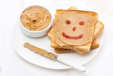 Free Toast With Peanut Butter And A Painted Smile, Top View Stock Images - 36255014
