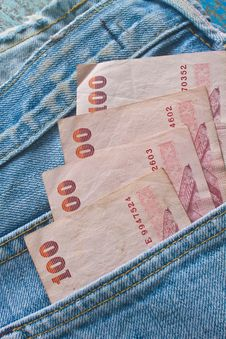 Free Banknote In  Jeans Pocket Stock Photography - 36257012