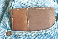 Free Brown Wallet In Jeans Trousers Back Pocket Stock Image - 36258431