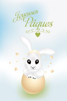 Free French Easter Card With Cute Bunny In Broken Egg S Royalty Free Stock Photo - 36258775