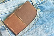 Free Brown Wallet In Jeans Trousers Back Pocket Royalty Free Stock Images - 36258779