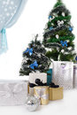 Free Christmas Tree Decorated With Blue Ornaments And Presents Royalty Free Stock Photography - 36264467