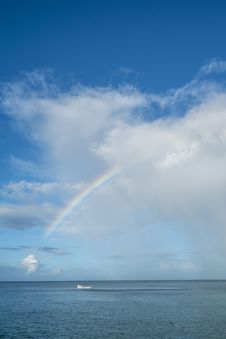 Rainbow Over The Caribbean Ocean Royalty Free Stock Image