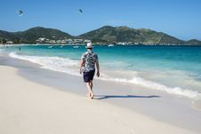 Free Man Walking On A Caribbean Beach 3 Stock Photos - 36260283