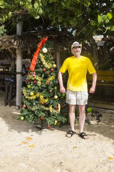 Free Man Standing Besides A Christmas Tree On A Beach Royalty Free Stock Image - 36260306