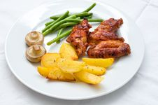 Free Chicken Wings With Potatoes Royalty Free Stock Image - 36261936