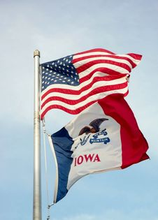 Free USA And  State Iowa Flags Royalty Free Stock Photo - 36262555