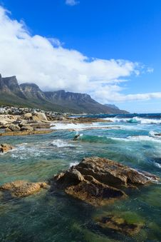 Beautiful Camps Bay Beach And Twelve Apostles Mountain Stock Images