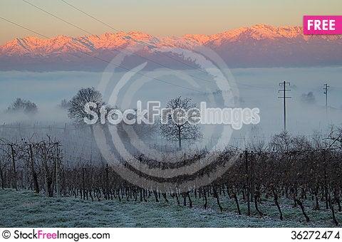 Free Beautiful Winter Sunrise On A Foggy Morning Stock Images - 36272474