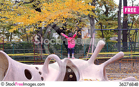Free Cute Child Playing With Autumn Leafs Royalty Free Stock Photos - 36276848