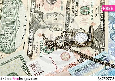 Free Pocket Watch Lie On Dollars Royalty Free Stock Photo - 36279775