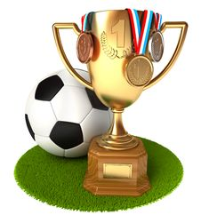 Free Gold Cup With Medals And Soccer Ball Stock Photography - 36278972