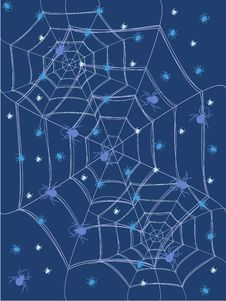 Free Blue Background With Spiders And Cobwebs. Stock Image - 36279691