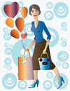 Free Beautiful Lady With Gift And Balloons. Stock Photo - 36286360