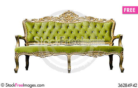 Free Vintage Luxury Green Sofa Armchair Isolated On White Stock Photography - 36284942