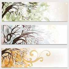 Free Business Cards Set With Trees Royalty Free Stock Image - 36282326