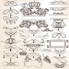 Free Collection Of Vector Vintage Decorative Elements For Design Stock Images - 36282404