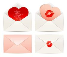 Free White Envelope And Hearts, Concept Love Royalty Free Stock Image - 36283456