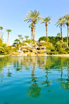 Free Pool Of Water With Row Of Palm Trees Royalty Free Stock Photo - 36285615