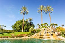 Free Pool Of Water With Row Of Palm Trees Royalty Free Stock Photo - 36285645