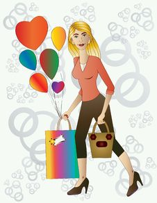 Free Beautiful Blond Woman With Gift And Balloons. Royalty Free Stock Image - 36286346