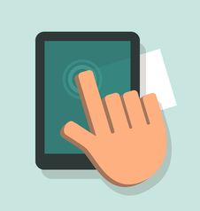 Hand Touching A Digital Tablet Stock Photo