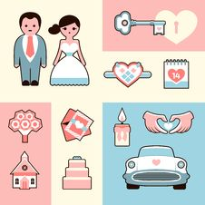 Wedding Flat Illustrations Set Stock Images